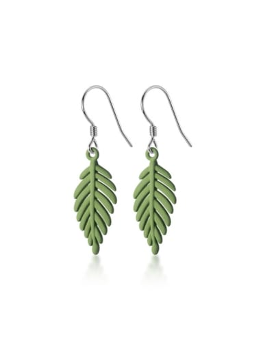 925 Sterling Silver Acrylic Leaf Minimalist Hook Earring