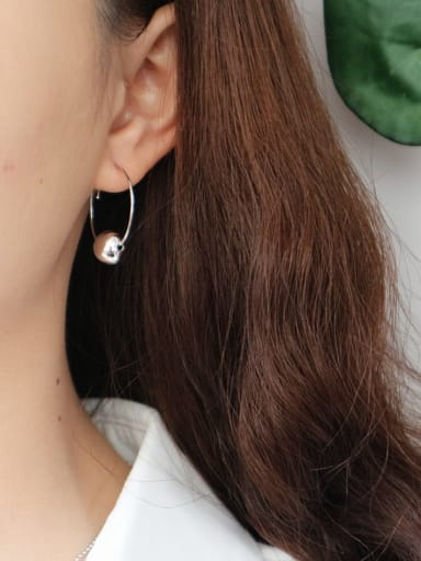925 Sterling Silver Ball Trend Hoop Earring