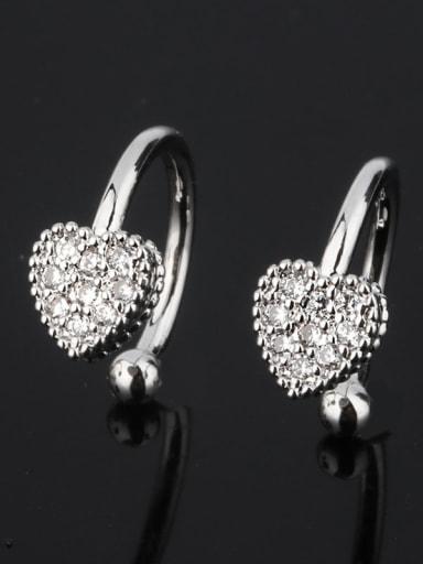 Platinum Copper Cubic Zirconia Heart Dainty Clip Earring