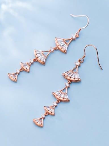 925 Sterling Silver Cubic Zirconia Triangle Dainty Hook Earring