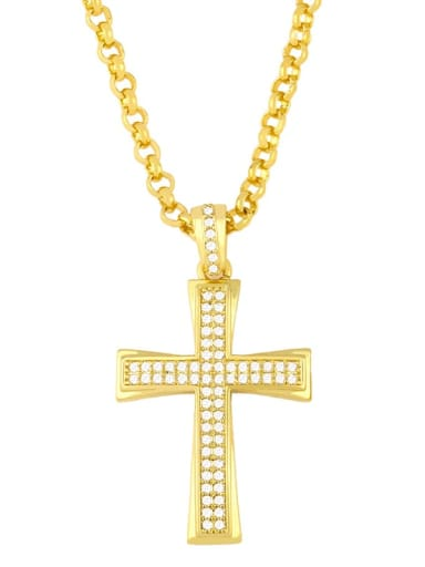 gold+white  pendant Copper Cubic Zirconia Cross Vintage Regligious  pendant