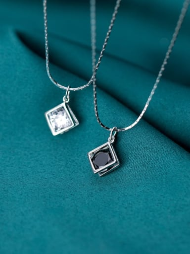 925 Sterling Silver Cubic Zirconia Black Simple square pendant  Necklace