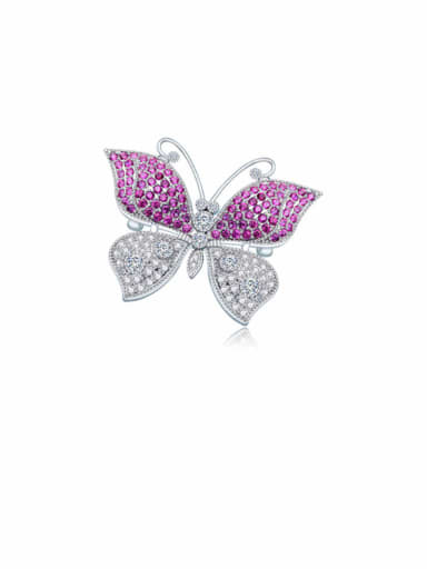 Copper Cubic Zirconia Butterfly Luxury Brooch