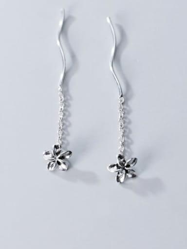 925 Sterling Silver Tassel Minimalist Threader Earring