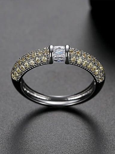 Yellow US 7 Copper Rhinestone Round Minimalist Band Ring