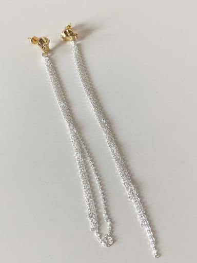 925 Sterling Silver chain Tassel Minimalist Threader Earring