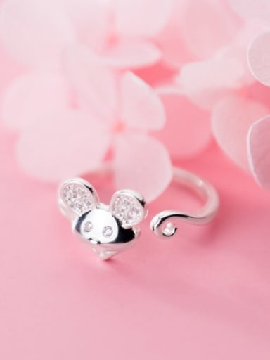 925 Sterling Silver Mouse Minimalist Free Size  Ring