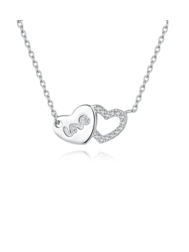 925 Sterling Silver Rhinestone small fresh love letter necklace