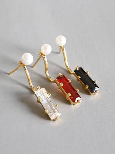 925 Sterling Silver Imitation Pearl Multi Color Geometric Minimalist Drop Earring
