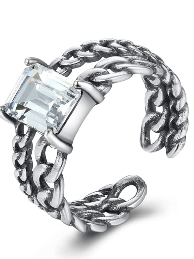 925 Sterling Silver Square cubic zirconia. Antique twist chain band ring