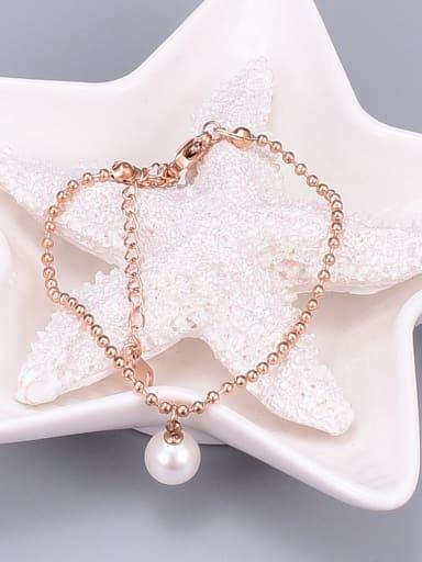 Titanium Imitation Pearl White Round Trend Beaded Bracelet