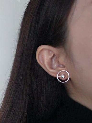 925 Sterling Silver Bead Round Minimalist Stud Earring