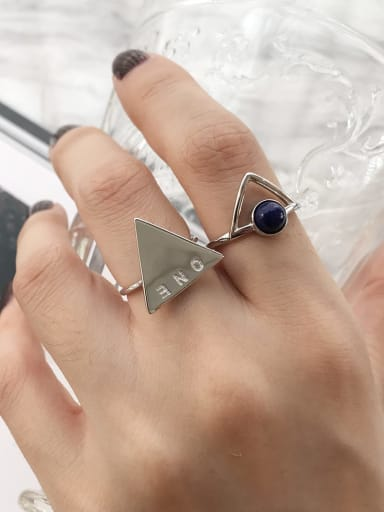 925 Sterling Silver Hollow Triangle Minimalist Free Size Ring