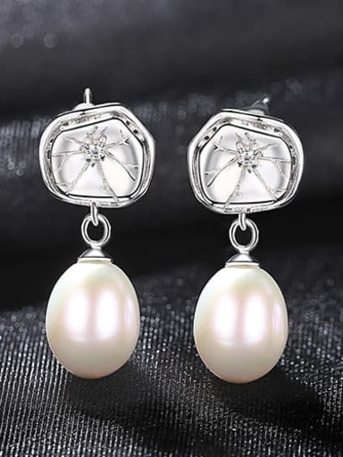 White 4h09 925 Sterling Silver Freshwater Pearl Flower Dainty Drop Earring