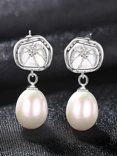 White 4h09 925 Sterling Silver Freshwater Pearl Flower Dainty Drop Earring