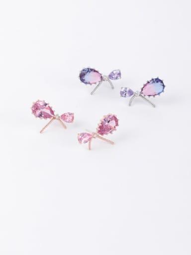 Copper Cubic Zirconia Multi Color Water Drop Minimalist Stud Earring