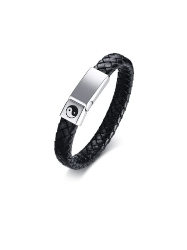 Stainless Steel With White Gold Plated Simplistic Square Woven & Braided Bracelets