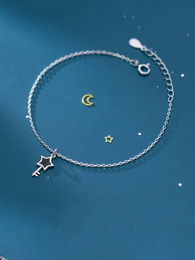 925 Sterling Silver Enamel Key Minimalist Link Bracelet