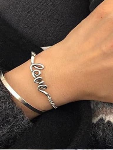 925 Sterling Silver Letter-love Trend Identification Bracelet