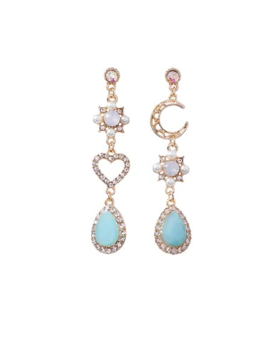 Alloy With Rose Gold Plated Fashion MoonLove Asymmetry  Water Drop Drop Earrings
