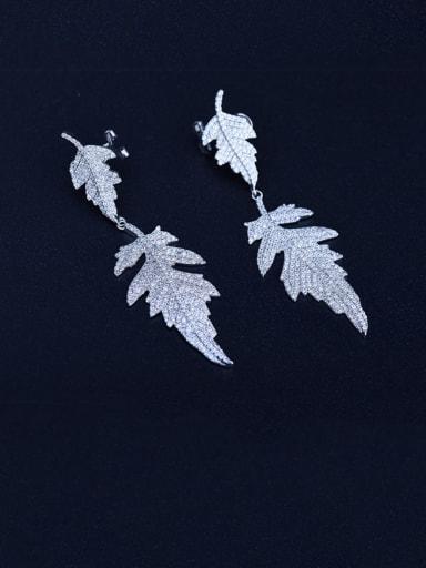 Copper Cubic Zirconia Leaf Luxury Chandelier Earring