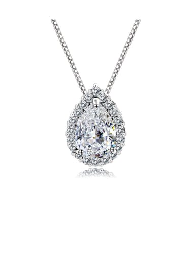 925 Sterling Silver Cubic Zirconia Water Drop Classic Necklace