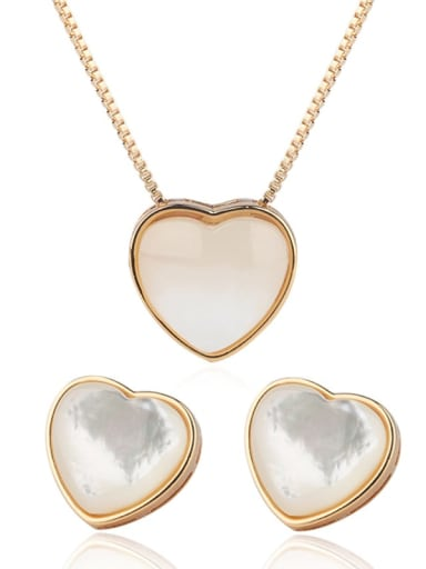 Earring Pendant (yellow gold) Copper  Minimalist Heart Shell Earring and Necklace Set