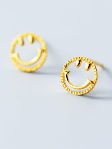 925 Sterling Silver  Minimalist  Simple golden smiley Stud Earring