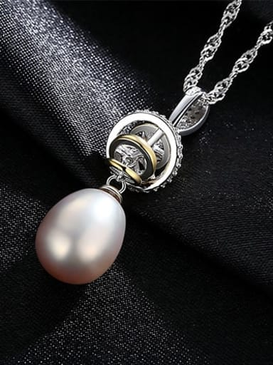 Purple 5A08 925 Sterling Silver Water Wave Chain Freshwater Pearl Pendant  Necklace