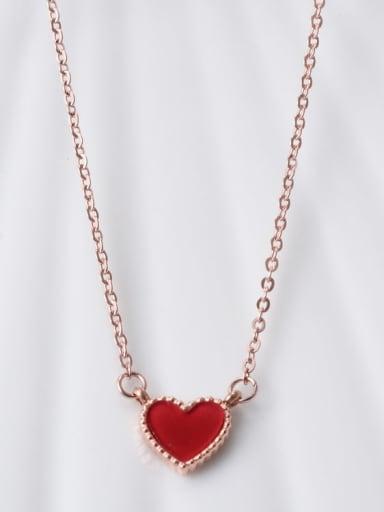 Titanium Red Enamel Heart Minimalist Choker Necklace