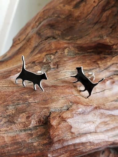 925 Sterling Silver Smooth Cat Cute Stud Earring