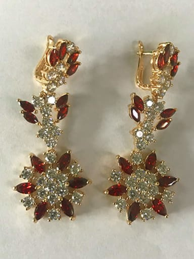 Red zirconium champagne gold t05b11 Copper Cubic Zirconia Flower Luxury Chandelier Earring