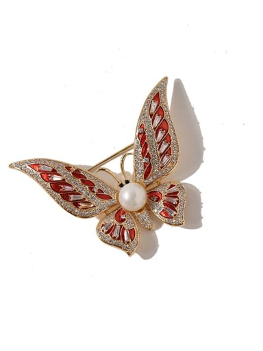 gold red Copper Cubic Zirconia Multi Color Enamel Butterfly Luxury Brooches