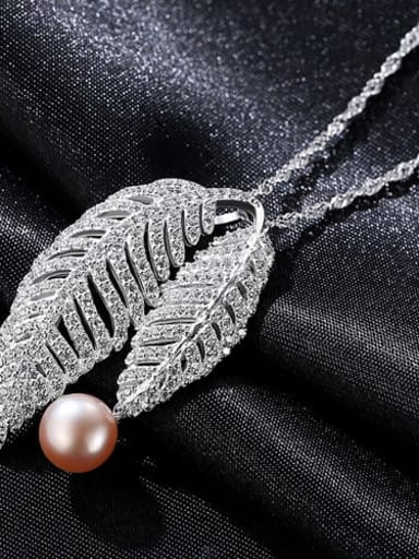 Purple 5e05 925 Sterling Silver Cubic Zirconia Fashion luxury leaves pendant  Necklace
