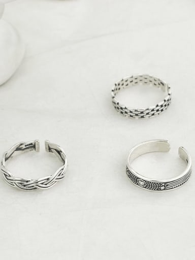 Vintage Sterling Silver With Platinum Plated Simple Retro Round Free Size Rings