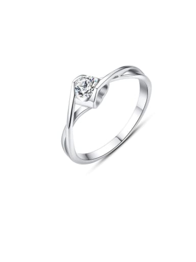 925 Sterling Silver Cubic Zirconia White Irregular Classic Band Ring