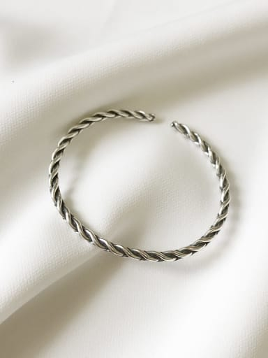 925 Sterling Silver Vintage Woven pattern Band Bangle