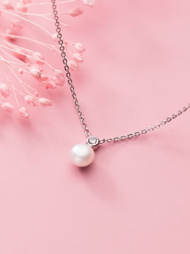 925 Sterling Silver Imitation Pearl Simple Round Bead Pendant Necklace