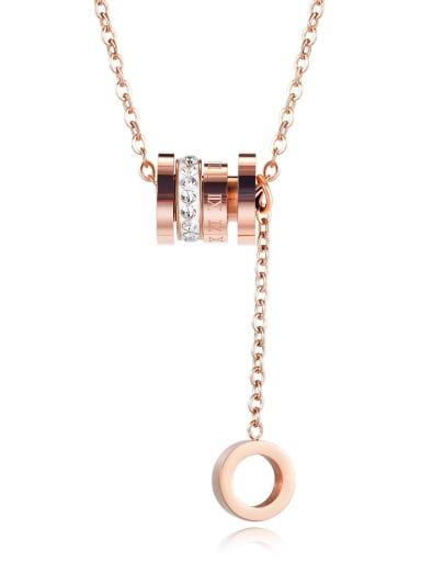 Titanium Rhinestone Number Minimalist Necklace