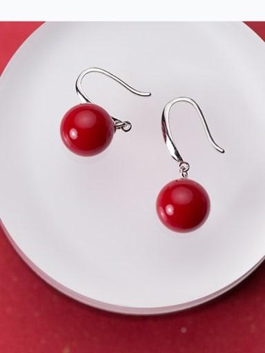 925 Sterling Silver Red Enamel Round Ball Minimalist Hook Earring