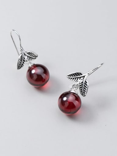 925 Sterling Silver Garnet Red Leaf Vintage Hook Earring