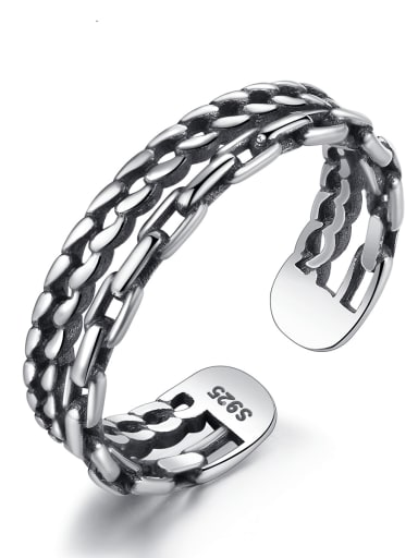 925 Sterling Silver Vintage fashion fine twist rope woven Stackable Ring