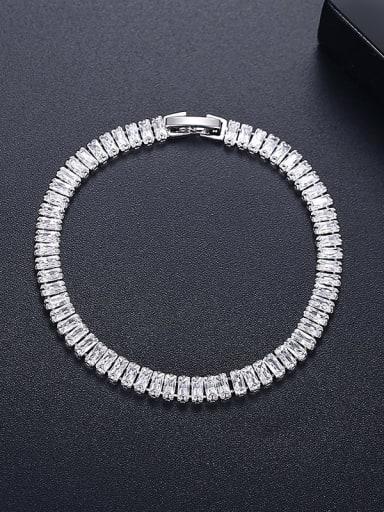 18cm T21A09 Copper Cubic Zirconia Geometric Dainty Link Bracelet