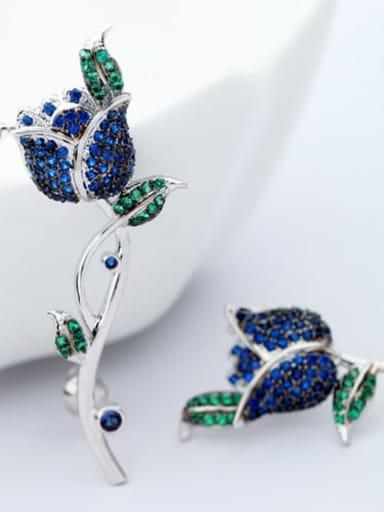 Blue petal Blue Zircon t06c05 Copper Cubic Zirconia  Luxury  Rosary Cluster Earring