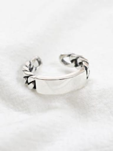 925 Sterling Silver Geometric Minimalist chain free size  Band Ring