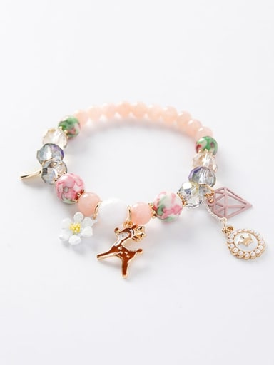 A pink Department Zinc Alloy Imitation Pearl Multi Color Round Bohemia Charm Bracelets