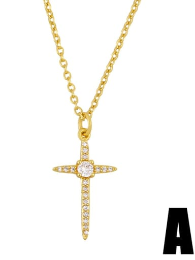 Copper Cubic Zirconia Cross Vintage Regligious Necklace
