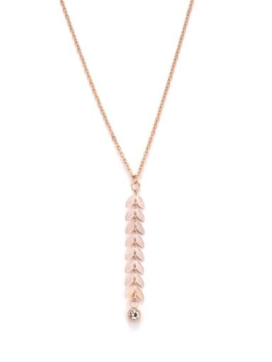 Titanium Minimalistic Leaf Tassel  Necklace