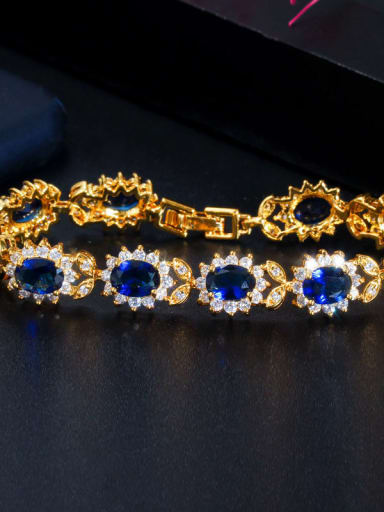 blue Copper Cubic Zirconia Flower Luxury Bracelet