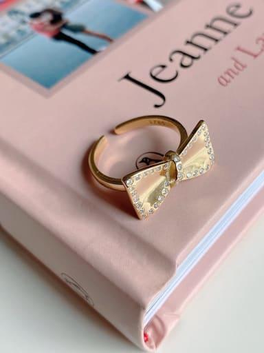 925 Sterling Silver Rhinestone Bowknot Minimalist  free size Ring